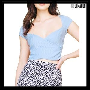 NEW REFORMATION BLUE WRAP-EFFECT RIBBED TOP